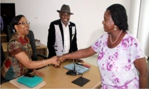 Rivers State Deputy Governor, Dr Ipalibo Harry Banigo (right), in a handshake with Dr Claribel Abam, Executive Secretary, Rivers State Primary Healthcare Management Board(left), and Dr Somieari Isaac Harry, Permanent Secretary, Ministry of Health. during a courtesdy call by the Medial and Health Workers Union (Primary Healthcare sector) to her office