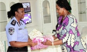 Rivers State Deputy Governor, Dr Ipalibo Harry Banigo (right), receiving a sourvenir from the South-South Assistant Inspector General of Police, Medical, Dr Adenike Abuwa, during a courtesy call of the Police Medical team to her office in Port Harcourt, yesterday