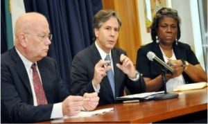 US Deputy Secretary of State, Mr Anthony Blinken (middle),briefing newsmen on the outcome of his meeting with President Buhari, some governors and members of civil society in Abuja yesterday. With him are, US Amb. James Entwhistle (left) and  US Assistant Secretary of State, Linda Thomas-Greenfield.