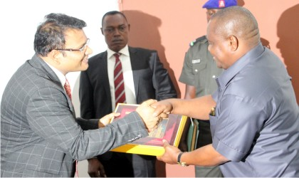 Managing Director, Indorama Eleme Petrochemicals Company, Mr Manish Mundra (left), making a presentation to Governor Nyesom Wike of Rivers State, during the Governor's Investment Promotion visit to the company, recently.         Photo: NAN