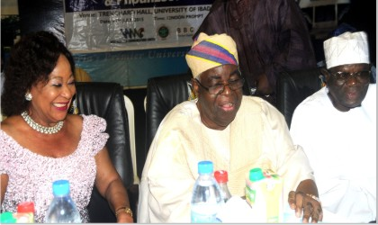 L-R: Former Minister of Industry, Chief Onikepo Akande; Chairman, Splash FM, Chief Adebayo Akande, Chairman of the occasion, Chief Kola Daisi,  at a lecture titled: Slaying of the Supreme Command Sine Qua Non for Nigeria's Development and Progress, at the University of Ibadan last Wednesday
