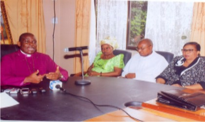 Rt Rev Ralph Cornelius Ebirien (JP), Bishop of the Niger Delta Diocese (left) during press briefing at Church of Nigeria, Anglican Communion, Bishop Court/King William Dappa Complex last Wednesday. With him are wife of the Bishop, Mrs Victoria Ebirien, Ven A. C Abbey-Kalio (2nd right), Registrar of the Diocese, Niger Delta Diocese, Dame Ibiere John-Foby (right).             Photo: Egberi A. Sampson