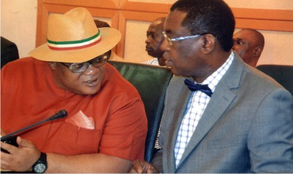 Secretary to the Rivers State Government, Barr Kenneth Kobani (left) conferring with Attorney General and Commissioner for Justice, Barr Emma Aguma (SAN),during inauguration of CTC Chairmen ceremony at Government House Port Harcourt ast Friday