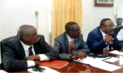R-L: Operation Divisional Manager, Nigerian Agip Oil Company (NAOC), Dr Nwenenda Mpi, Divisional Manager, Stakeholders Management, NAOC, Mr. Dan-Jumbo and Manager, Stakeholders Management,  Dan Onyeaghala, addressing  members of the Adhoc Committee on Ebocha Gas Explosion of the Rivers State House of Assembly  in Ebocha community  last Wednesday.