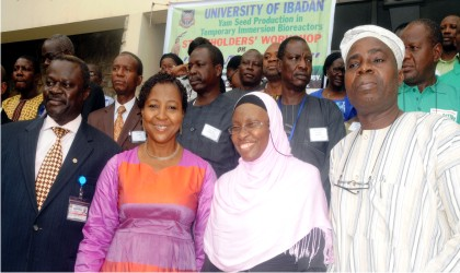L-R: Head, Department of Crop Protection, University of Ibadan, Prof. Adebayo Omoloye; Deputy Vice Chancellor (Academics), Prof. Gbemisola Oke; Principal Investigator, Yam Seed Production in Bio-reactors, Dr Morufat Balogun and representative of the Dean, Faculty of Agriculture, Prof. Rasheed Awodoyin, at Yam Seed Production in Bio-reactors at the University of Ibadan, yesterday