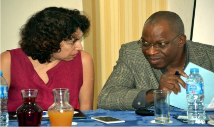 Head Customer Service PHED Godwin Ororwiroro (right) exchanging views with Chief Regulating Officer PHED Nancy Abdala during public consultation on PHED Tariff Review  in  Port Harcourt,  yesterdayPhoto: Nwiueh Donatus Ken