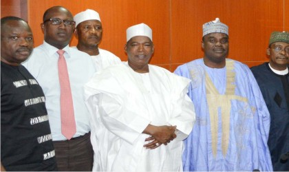 L-R: Principal Private Sector Specialist, African Development Bank (AfDB), Mr Emmanuel Akinwumi, Acting Division Manager of AfDB, Masumbuko Robert, Chairman, Board of Directors, Amb. Adamu Aliyu, Managing Director, Bank of Agriculture, Prof. Danbala Danju  and Executive Director, Corporate Services, Alhaji Mohammed Sambo, during the AfDB's Scoping Mission to partnership with the Bank of Agriculture on financial inclusion, in Abuja on Monday