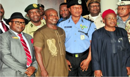 L-R: Representative of the Commandant, National Defence College, Amb. Chijioke Wigwe; Chairman of the occasion, Prof. Oshita Oshita; Representative of the Inspector-General of Police, AIG Patrick Dukumor and Representative of the Head of the Civil Service of the Federation, Mazi Okeahilam Nzem, at an Inter-Agency Collaboration for Crises Management and Peace-building for Security agencies, Humanitarian Workers, Civil Society Organisations and other stakeholders in Abuja yesterday.
