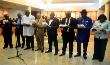 Cross section of Rivers State Independent Electoral Commission (RSIEC) members taking oath of office at Government House, Port Harcourt last Friday.                                                                                                  Photo: Chris Monyanaga
