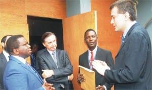 L-R: Vice Chancellor, University of Ibadan, Prof. Isaac Adewole, France Ambassador to Nigeria, Mr Denya Gaver; Head of European Studies, University of Ibadan, Prof. Babatunde Ayeleru and Deputy Director, Alliance-fransaice, Mr Michelland Nicolas, during the visit of France Ambassador to University of Ibadan yesterday.