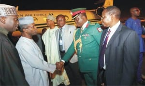 Vice President Yemi Osinbajo (2nd left), being received by the Defence Attache to Nigeria's Embassy in Ethiopia, Col. Adewale Adekoya, on arrival for the 3rd United Nations International Conference on Financing for Development, in Addis Ababa, recently.