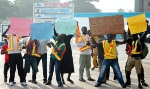 China Civil Engineering Construction company workers protesting  poor welfare packages in Lagos, yesterday