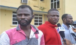Military deserters arrested by the police  and paraded in Port Harcourt, yesterday.