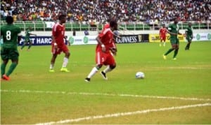 Congolese U-23 defender (5) on the ball during their game with Nigeria's Dream Team VI at the Adokiye Amiesimaka Stadium, Port Harcourt on Sunday