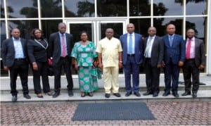 Governor of Rivers State, Chief Nyesom Wike (middle), in a group  photograph with management and staff of  Shell Petroleum Development Company of Nigeria (SPDC), during a courtesy call in Government House, Port Harcourt recently.