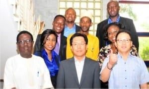 L-R: President, Korea International Cooperation Agency (KOICA) Alumni in Nigeria, Mr Isa Hussein, Korean Ambassador to Nigeria, Noh Kyu-duk and Country Director, Jung Sang-Hoon, with some Nigerians awarded scholarships to study in leading Korean Universities, at their Pre-departure Orientation in Abuja, onWednesday
