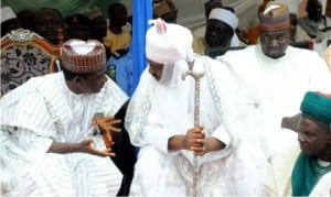 L-R: Governor Simon Lalong of Plateau State, Emir of  Wase, Alhaji Mohammed Sambo and Deputy Speaker Plateau  State House of Assembly, Alhaji Yusuf Gagdi, during the Eid el-Fitri traditional sallah homage to the governor in Jos last Monday. Photo: NAN