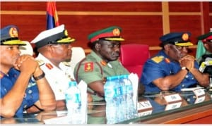 L-R: Chief of Air Staff, AVM Sadique Abubakar, Chief of Naval Staff, Rear Adm. Ibok-Ete Ibas, Chief of Army Staff, Maj.-Gen. Tukur Buratai, and former Chief of Defence Staff, Air Chief Marshal Alex Badeh, during the handing over of the former  Chief of Defence Staff to his successor in Abuja, onTuesday
