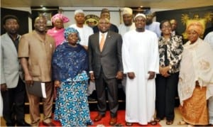 Governor Akinwumi Ambode of Lagos State (4th left), his Deputy, Dr Oluranti Adebule (3rd left),  Amirul Hajj and Chairman, Special Adhoc Committee for the Lagos 2015 Hajj, Dr Abdulhakeem Abdullateef (3rd right) and others, during the inauguration of the Committee in Lagos last Monday