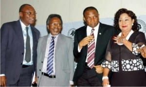 L-R: President, Lagos Chamber of Commerce and Industry (LCCI), Alhaji Remi Bello, Professor of International Law, University of Lagos, Prof. Akin Oyebode, Lagos SSG, Mr Tunji Bello  and  former Minister of Industry, Chief Nike Akande, at a dialogue on Nigeria Foreign Policy and International Trade Relations in Lagos, yesterday.