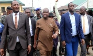 Rivers State Governor, Chief Nyesom Wike (middle),with Chairman, Caretaker Committee of Akuku-Toru Local Government Area, Hon. Odimabo (left)  and other prominent sons of the area, during the inspection tour of Abonnema-Obonoma Bridge project by the Governor in Abonnema, yesterday