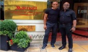 Sunday Oliseh (left) and Nigeria Football Federation President, Amaju Pinnick