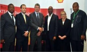 L-R: Head of Nigerian Content Development, Shell Nigeria Exploration and Production Company of Nigeria (SNEPCo), Austin Uzoka, Director, United Kingdom Trade & Industry, Chris Maskell, British Deputy High Commissioner, Ray Kyles, General Manager, Nigerian Content Development, Shell Nigeria, Chiedu Oba, UKTI Specialist, Sue Whitebread, Director ,Monitoring and Evaluation (NCDMB),Tunde Adelana, at the just concluded Nigeria – UK Suppliers Engagement Programme sponsored by SNEPCo and its Co-venturers.