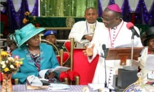 Rivers State Governor, Chief Nyesom Wike, represented by his Deputy, Dr Ipalibo Banigo (left), listening to the Bishop, Diocese of Evo (Anglican Communion), Rt Rev Innocent Ordu, as he passes a goodwill meassage through her to the governor, during the 2015 Synod of the church in Port Harcourt, recently.