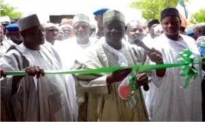 Governor Ibrahim Dankwambo Of Gombe State (middly),  inaugurating  sale of fertilizer in Gombe recently