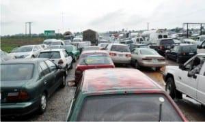Traffic on Abuja-Kaduna Expressway at Giri Junction due to flood across the highway in Abuja, recently         Photo: NAN