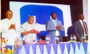 L-R: Chairman, Christian Association of Nigeria's Local Government Coalition, Rev Peters Georgewill, former Chairrman, Church Growth Forum, Rivers State, Rev. Charles Emen, Chairman, CAN, Rivers State, Apostle David Zilly Aggrey and Rivers State Overseer, Deeper Christian Life Ministry, Rev. Andrew E. Osagie, during a Special Ministers Breakfast Forum, in the preparation for the Port Harcourt Great Miracle Crusade organised by DCLM in collaboration with CAN in Port Harcourt  on Wednesday.             Picture: Egberi A. Sampson