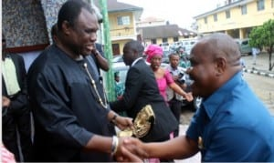 Rivers State Governor, Chief Nyesom Wike (right), exchanging pleasantries with former Chief of Army Staff, Lt. General Kenneth Minimah, former Chief of Army Staff, during the wedding ceremony of his daughter at St. Cyprian Anglican Church, Port Harcourt on Saturday.