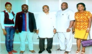 General Manager, Rivers State Newspaper Corporation, Mr Celestine Ogolo (middle), in a group photograph with members of Rotary Club of Port Harcourt Central, durinmg their facility visit to the corporation in Port Harcourt on Tuesday.                             Photo: Egberi A. Sampson
