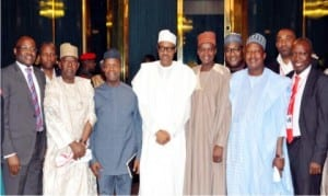 President Muhammadu Buhari (middle),Vice President Yemi Osinbajo (3rd left), Permanent Secretary, Federal Ministry Of Transport, Mohammad Bashar (3rd right) and Heads of Parastatals of the Ministry of Transport, after briefing President Buhari on activities of the Ministry and its agencies at the Presidential Villa in Abuja on Monday.