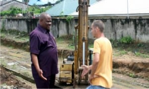 Rivers State Governor, Chief Nyesom Wike (left),with Project Supervisor, Zerock Construction Company, Engr. Rabbi, during the inspection of Industry Road in Port Harcourt, recently.