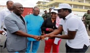 Chief of Staff, Government House, Hon. Emeka Woke (2nd left), in a handshake with Chairman, National Youth Council, Rivers State chapter, Amb. Sukubo Sara-Igbe, while the Permanent Secretary, Government House, Sir Clifford N. Walter (3rd left) and Permanent Secretary, Ministry of Youth Development, Mrs. Clara Tam Nmebe watch, at a public function in Port Harcourt, recently.