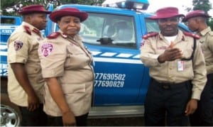 L-R:  Delta State Frsc Sector Commander, Mr Rindom Kumven, Assistant Corps Marshal in-charge of federal Operations, Mrs Mary Wakawa and Sector Commander for Anambra State, Mr Sunday Ajayi, at the inauguration of 'Operation Scorpion' Phase 2 in Onitsha, recently.