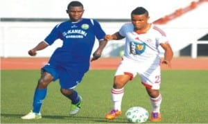 An Elkanemi player (left), being beaten by his Rangers counterpart in the quarter final match of the Federation Cup on Wednesday