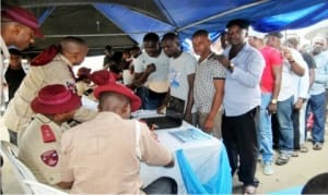 FRSC officials certifying petroleum tanker  drivers in Eleme Local Government of Rivers State recently.     Photo: NAN