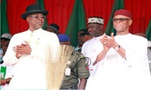 APC National Chairman, Chief John Odigie Oyegun (right), with former Governor of Bayelsa State, Chief Timipre Silva (left), during APC mega rally in Yenagoa on Saturday.       Photo: NAN