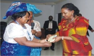Leader of 'I See You Foundation, Pastor (Mrs) Senapuba Ariweriokuma (left), presenting a plaque to Rivers State Deputy Governor, Dr. (Mrs) Ipalibo Harry-Banigo, during a courtesy call in Government House, Port Harcourt recently.