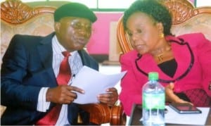 Chairman, Rivers State Commission, Chief Oris Onyin, with chairman of the occasion, Prof. (Mrs) Roseline Konya, during a seminar organised by the commission to reposition the  State Civil Service in Eleme on Monday.