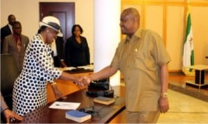 Rivers State Governor, Chief Nyesom Wike (right), congratulating Chairman, Rivers State Christian Pilgrims Welfare Board, Barr. (Mrs.) Biobele Adesola, after the inauguration of the board at Government House, Port Harcourt, yesterday