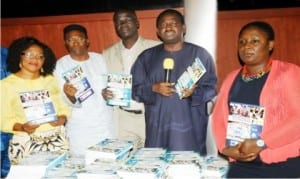 L-R: Nawoj President, Mrs Ifeyinwa Omowole, Executive Secretary, Nigerian Press Council, Mr Nnamdi Njemanze, National President, Nuj, Mr Abdulwaheed Odusile, Senior Special Adviser to the President on Media and Publicity, Mr Femi Adesina and Communications and Reporting Advisor, Undp, Ms Toyin Adewale-Gabriel, at the public presentation of Reportage of 2015 Elections: A  Monitoring Scorecard of Print and Online Media in Abuja recently.