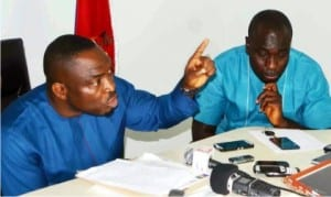 President, Ijaw Youths Council (iyc), Mr  Udengs Eradiri (left), addressing a news conference in support of the ongoing restructuring of the oil and gas sector in Yenagoa on Tuesday. With him is iyc spokesman,  Mr Eric Omare.