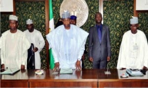 L-R: Secretary to Bauchi State Government, Alhaji Ahmed Suleiman,  Governor Muhammed Abubakar of Bauchi State and Permanent Secretary, General Services, Alhaji Ahmed Jarmajo, during the briefing of the Governor by Permanent Secretaries and Heads of Parastatals of in Bauchi on Thursday.