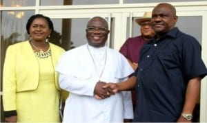 Rivers State Governor, Chief Nyesom Wike (right), in a handshake with Prelate of Methodist Church Nigeria, Dr. Samuel Kanu Uche, during the Prelate's visit to Government House, Port Harcourt, recently. With them is Deputy Governor of the State, Dr. Ipalibo Harry-Banigo.