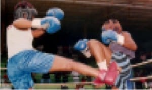 Female kickboxers in action