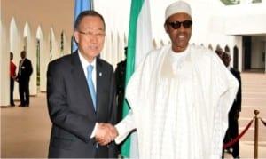 President Muhammadu Buhari (right), welcoming the Secretary-General of United Nations, Mr Ban Ki-Moon, to the Presidential Villa in Abuja on Monday