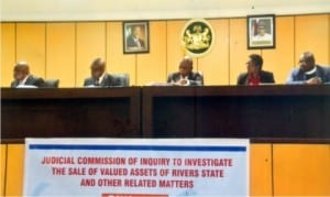 Flashback: Monday's sitting in Port Harcourt of the Judicial Commission of Inquiry to investigate the sale of valued assets of Rivers State and other related matters. Middle is Chairman of the Commission, Justice George Omereji
